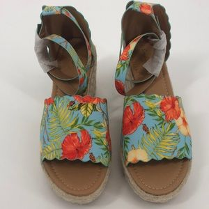 Qupid Jute Wedge Blue & Red Floral Ankle Strap